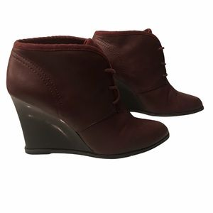 Nine West Cupcake Wedge Lace-Up Ankle Bootie 8
